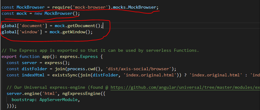 import mock-browser to solve the problem - window is not defined in angular universal